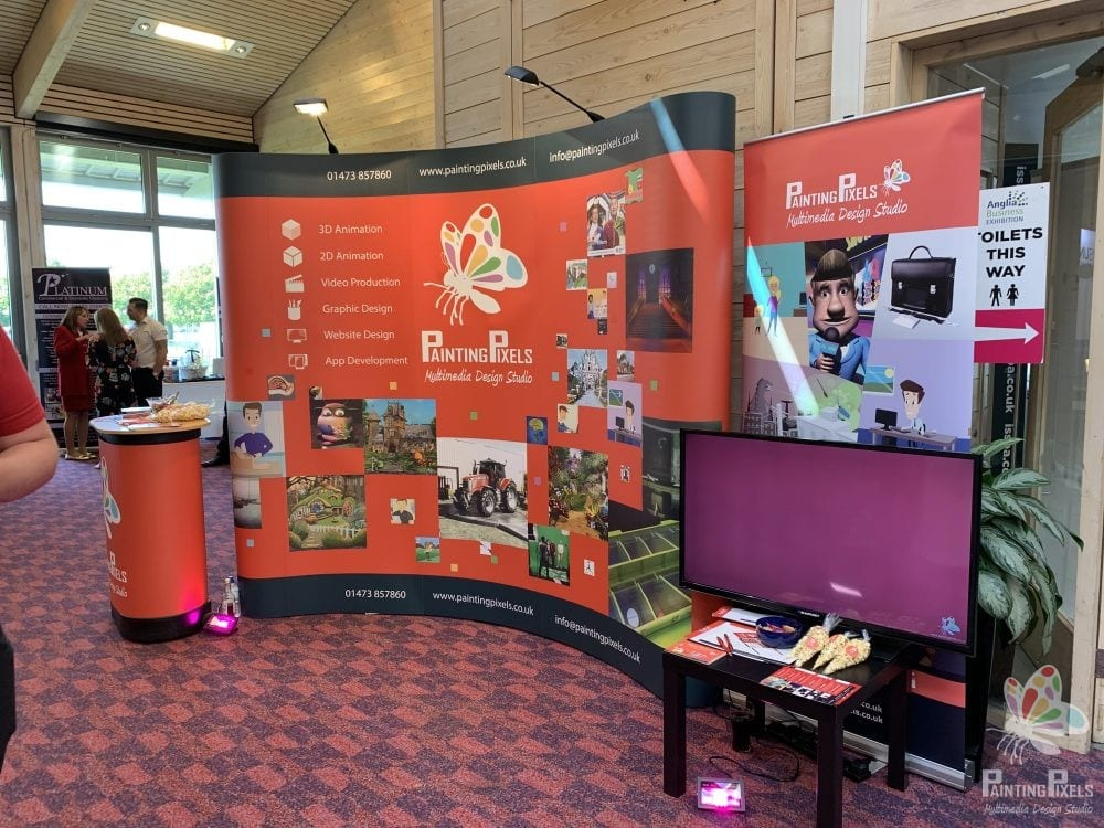 Painting Pixels Stand Design ABE 19 Anglia Business Exhibition Stand Animation Digital Marketing Graphics Ipswich Suffolk -1