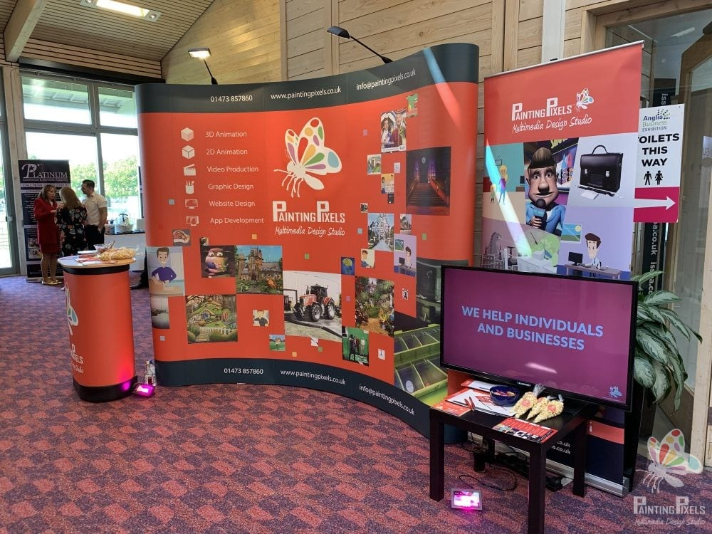 Painting Pixels Stand Design ABE 19 Anglia Business Exhibition Stand Animation Digital Marketing Graphics Ipswich Suffolk -2