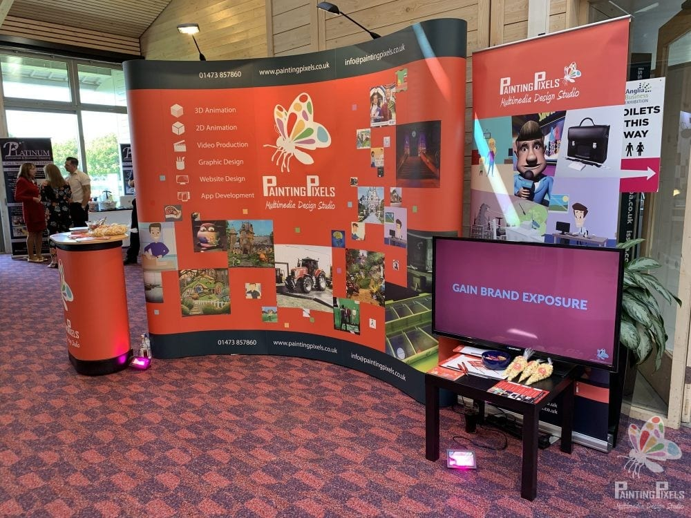 Painting Pixels Stand Design ABE 19 Anglia Business Exhibition Stand Animation Digital Marketing Graphics Ipswich Suffolk -3